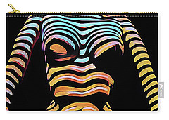 1205s-mak Seated Figure Zebra Striped Nude Rendered In Composition Style Carry-all Pouch by Chris Maher