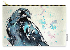 Carry-all Pouch featuring the painting Crow by Kovacs Anna Brigitta