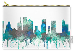 Carry-all Pouch featuring the digital art Houston Texas Skyline by Marlene Watson