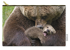 Mother Bear Cuddling Cub Carry-all Pouch by Arterra Picture Library