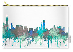 Carry-all Pouch featuring the digital art Chicago Illinois Skyline by Marlene Watson
