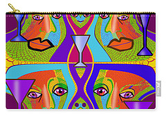 Carry-all Pouch featuring the digital art 1688 - Funny Faces 2017 by Irmgard Schoendorf Welch
