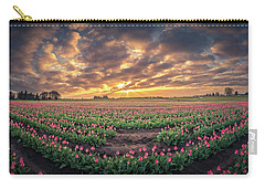 Carry-all Pouch featuring the photograph 180 Degree View Of Sunrise Over Tulip Field by William Lee