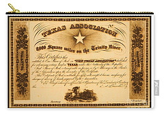 Carry-all Pouch featuring the drawing 1844 Texas Association Stock Certificate For Pioneer Emigration To The Mercer Colony by Peter Gumaer Ogden
