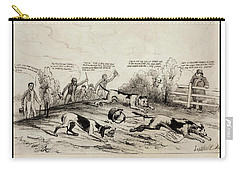 Carry-all Pouch featuring the drawing 1845 Texas Mexico Annexation Cartoon by Peter Gumaer Ogden