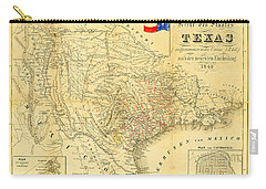 1849 Texas Map Carry-all Pouch by Bill Cannon