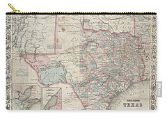 1870 Colton Pocket Map Of Texas Carry-all Pouch