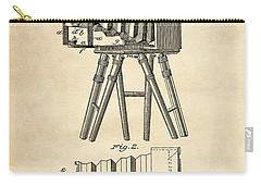 Carry-all Pouch featuring the digital art 1885 Camera Us Patent Invention Drawing - Vintage Tan by Todd Aaron
