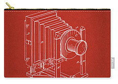 Carry-all Pouch featuring the digital art 1888 Camera Us Patent Invention Drawing - Red by Todd Aaron