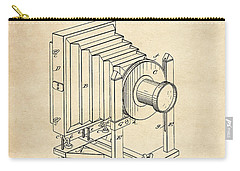 Carry-all Pouch featuring the digital art 1888 Camera Us Patent Invention Drawing - Vintage Tan by Todd Aaron