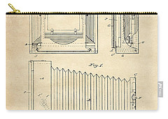 Carry-all Pouch featuring the digital art 1891 Camera Us Patent Invention Drawing - Vintage Tan by Todd Aaron