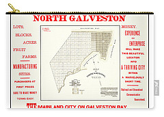 Carry-all Pouch featuring the drawing 1891 North Galveston Texas Promotional Land Development Poster by Peter Gumaer Ogden