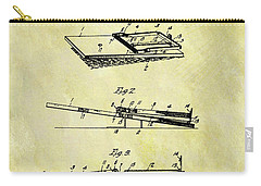 Carry-all Pouch featuring the mixed media 1903 Mouse Trap Patent by Dan Sproul