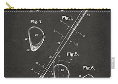 Carry-all Pouch featuring the digital art 1910 Golf Club Patent Artwork - Gray by Nikki Marie Smith