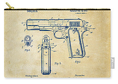 Carry-all Pouch featuring the digital art 1911 Colt 45 Browning Firearm Patent Artwork Vintage by Nikki Marie Smith