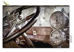 Carry-all Pouch featuring the photograph 1914 Rolls-royce 40 50 Silver Ghost Landaulette Steering Wheel -0795ac by Jill Reger
