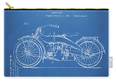 Carry-all Pouch featuring the digital art 1924 Harley Motorcycle Patent Artwork Blueprint by Nikki Marie Smith