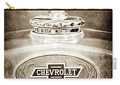 Carry-all Pouch featuring the photograph 1928 Chevrolet 2 Door Coupe Hood Ornament Moto Meter -0789s by Jill Reger