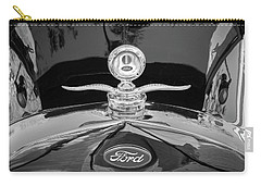 Carry-all Pouch featuring the photograph 1929 Ford Model A Hood Ornament Bw by Rich Franco