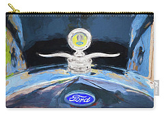 Carry-all Pouch featuring the photograph 1929 Ford Model A Hood Ornament Painted by Rich Franco