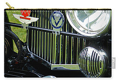Carry-all Pouch featuring the photograph 1930s Aston Martin Front Grille Detail by John Colley