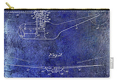 1947 Helicopter Patent Blue Carry-all Pouch by Jon Neidert