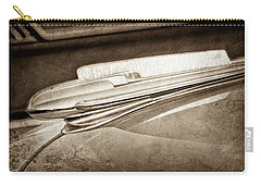 Carry-all Pouch featuring the photograph 1948 Chevrolet Hood Ornament -0587s by Jill Reger