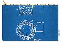 Carry-all Pouch featuring the digital art 1951 Basketball Net Patent Artwork - Blueprint by Nikki Marie Smith