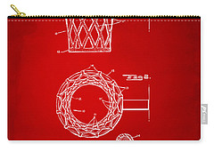 Carry-all Pouch featuring the digital art 1951 Basketball Net Patent Artwork - Red by Nikki Marie Smith