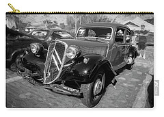 Carry-all Pouch featuring the photograph 1953 Citroen Traction Avant Bw by Rich Franco