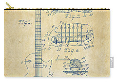 Carry-all Pouch featuring the drawing 1955 Mccarty Gibson Les Paul Guitar Patent Artwork Vintage by Nikki Marie Smith