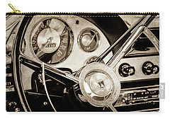 Carry-all Pouch featuring the photograph 1956 Ford Victoria Steering Wheel -0461s by Jill Reger