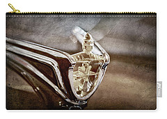 Carry-all Pouch featuring the photograph 1956 Lincoln Premiere Convertible Hood Ornament -2797ac by Jill Reger
