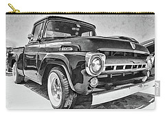 1957 Ford F100 In Black And White Carry-all Pouch