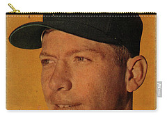 1958 Topps Baseball Mickey Mantle Card Vintage Poster Carry-all Pouch by Design Turnpike