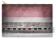 Carry-all Pouch featuring the photograph 1961 Chevrolet Corvair Pickup Truck Grille Emblem -0130ac by Jill Reger