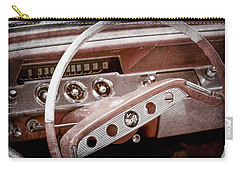 Carry-all Pouch featuring the photograph 1961 Chevrolet Impala Ss Steering Wheel Emblem -1156ac by Jill Reger