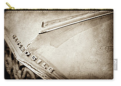 Carry-all Pouch featuring the photograph 1962 Oldsmobile Hood Ornament And Emblem -0598s by Jill Reger