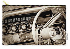 Carry-all Pouch featuring the photograph 1964 Ford Thunderbird Steering Wheel -0280s by Jill Reger