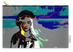 Carry-all Pouch featuring the digital art 1964 - Walk On The Seaside by Irmgard Schoendorf Welch