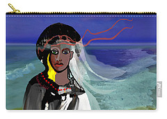 Carry-all Pouch featuring the digital art 1965 - Walk On The Oceanside by Irmgard Schoendorf Welch
