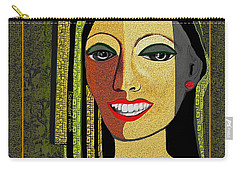 Carry-all Pouch featuring the digital art 1966 - Lady With Beautiful Teeth by Irmgard Schoendorf Welch