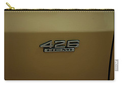 Carry-all Pouch featuring the photograph 1967 Belvedere Gtx 426 Hemi Badge by Chris Flees