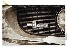 Carry-all Pouch featuring the photograph 1967 Ford Gt 350 Shelby Clone Grille Emblem -0759s by Jill Reger