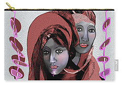 Carry-all Pouch featuring the digital art 1971- Rosecoloured Portrait 2017 by Irmgard Schoendorf Welch