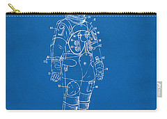 1973 Astronaut Space Suit Patent Artwork - Blueprint Carry-all Pouch by Nikki Marie Smith