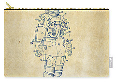 1973 Astronaut Space Suit Patent Artwork - Vintage Carry-all Pouch by Nikki Marie Smith