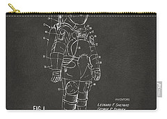 Carry-all Pouch featuring the digital art 1973 Space Suit Patent Inventors Artwork - Gray by Nikki Marie Smith