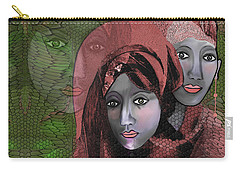 Carry-all Pouch featuring the digital art 1974 - Women In Rosecoloured Clothes - 2017 by Irmgard Schoendorf Welch