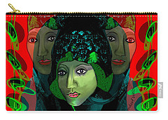 Carry-all Pouch featuring the digital art 1975 - Mystery Woman by Irmgard Schoendorf Welch